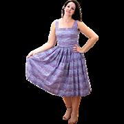 1950s Jerry Gilden Purple Cotton Sundress S/M
