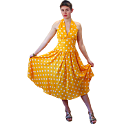 1980s R&K Originals Yellow Polka Dot Sundress S/M