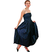 1950s Dramatic Blue Dotted Strapless Evening Gown