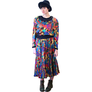 1980s Lively Diane Freis Rainbow Print Designer Dress M