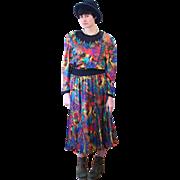 1980s Lively Diane Freis Rainbow Print Designer Dress M