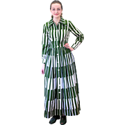 1970s Marimekko Design Research Green White Dress S