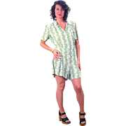 1940s Green White Floral Rayon Romper Playsuit L