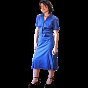 1950s Deep Blue Two Piece Dress, Skirt Suit by Berkshire M