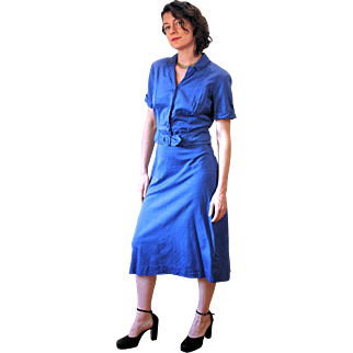 1950s Deep Blue Two Piece Dress, Skirt Suit by Berkshire M