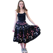 1950s Black Floral Cotton Circle Skirt XS