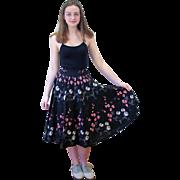 1950s Black Floral Cotton Circle Skirt XS