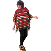 Bright 1960s Vintage Peruvian Blanket Poncho