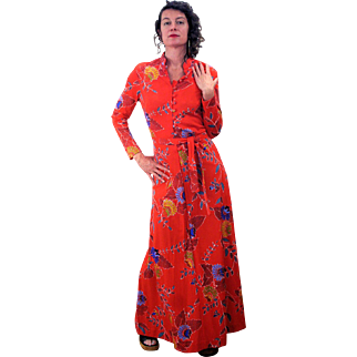 1970s Red Floral Mod Psychedelic Maxi Dress M