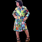 1970s Bright Patchwork Thailand Coat Dress L