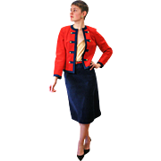 1970s Red and Navy Nautical Ultrasuede Skirt Suit S