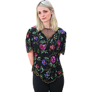 1980s Lush Floral Silk Sequin Laurence Kazar Top S/M