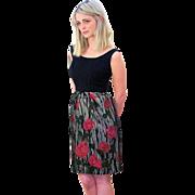 Classic 1960s Black Roses Print Wiggle Dress XS