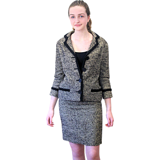 Fine 1960s Couture Jacques Esterel Tweed Suit S/XS