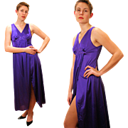 1970s Purple Vanity Fair Nightgown Slip Dress