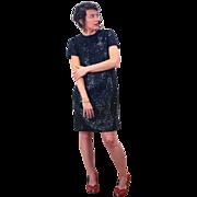 1960s Black Sequin Mod Dress M/L