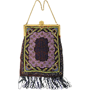 1920s Micro Beaded Purse, 20s Flapper Bag