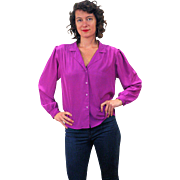 1980s Silky Larkspur Purple Blouse M