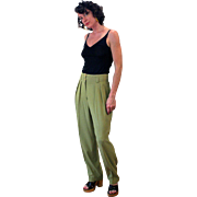1980s Chartreuse Green High Waist Trousers M