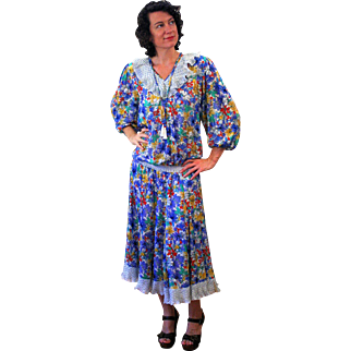 1980s Diane Freis Beaded Blue Floral Dress