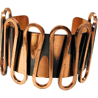 1950s Renoir Modernist Copper Cuff Bracelet