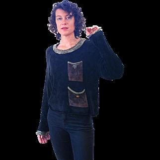 1980s Soft Black Chenille Fall Sweater S