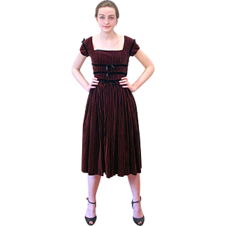 1940s Lanz Red Black Striped Velvet Bonwit Teller Dress XS