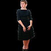 1950s Black Striped Velvet Party Dress S
