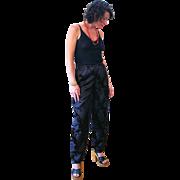 1980s Norma Kamali Black Floral Jacquard Pants S M