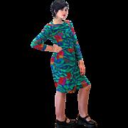1980s Louis Feraud Vivid Green Designer Dress M