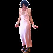 1930s Peach Rayon Silk Lingerie Slip Dress M L