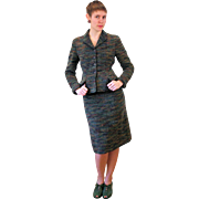 1950s Danish Bespoke Textured Wool Skirt Suit S