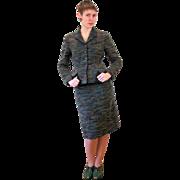 1950s Danish Bespoke Textured Wool Skirt Suit S