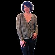 1980s Oscar de la Renta Brown Knit Cardigan Sweater Jacket M