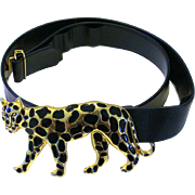 1980s Dotty Smith Big Leopard Cat Buckle on Fashion Belt