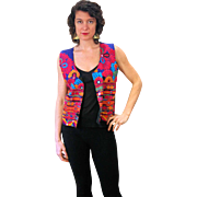 1980s Bright Embroidered Mirrored Ethnic Folk Vest S/M