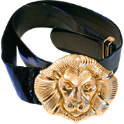1980s Mimi Di N Gold Lion Buckle Belt