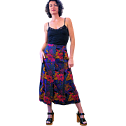 1980s Purple Abstract Floral Print Rayon Indonesian Skirt M
