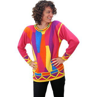 1990s Beaded Angora Lambswool Color Block Sweater M
