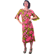 1960s Pink and Green Liberty House Hawaiian Dress M