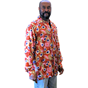 1990s Men's Silk Peacock Print Shirt M/L
