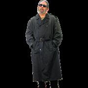 1990s Men's Black Sanyo Luxury Trench Coat XL 42R