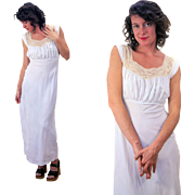 1940s Light Blue Rayon Nightgown, Lace Trimmed Slip Dress M