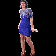 1980s Laurence Kazar Blue Sequin Mini Dress M L