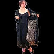 1980s Deadstock Black Beaded Sheer Evening Coat XL