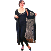 1980s Deadstock Black Beaded Sheer Evening Coat XL