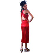 1990s Cherry Red Satin Open Back Evening Dress S