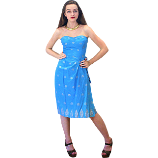 1950s Blue and Silver Mildred's of Hawaii Sarong Dress XS