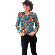 "1940s Floral Quilted 'Lounge Modes"" Jacket M"