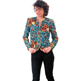 """1940s Floral Quilted 'Lounge Modes"""" Jacket M"""